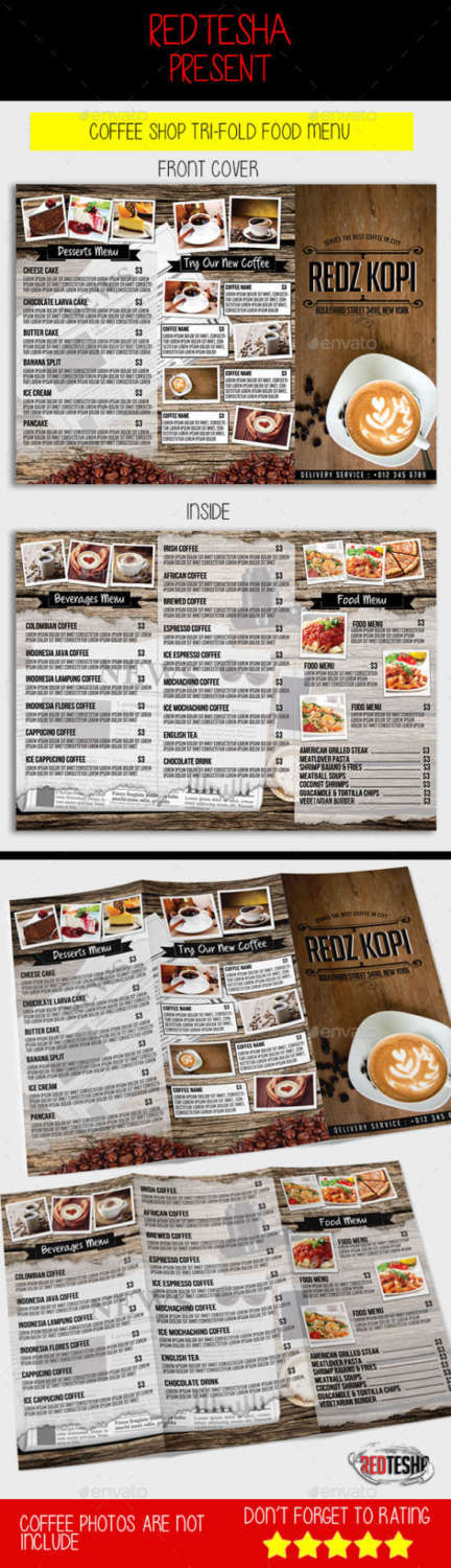 coffee shop menu that is trifold width=