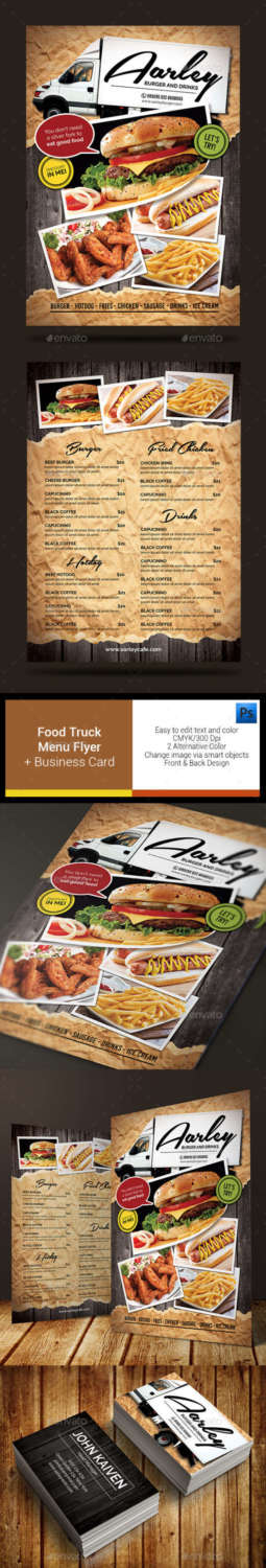 food truck menu flyer company card