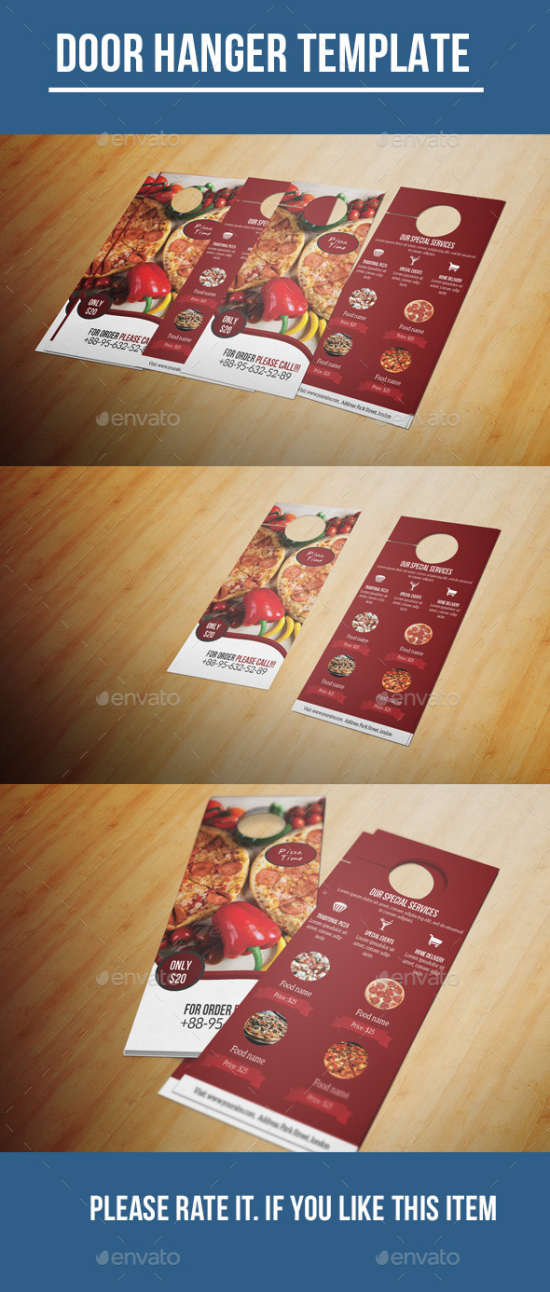 food menu door hanger