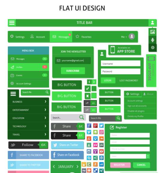 free green flat ui kit