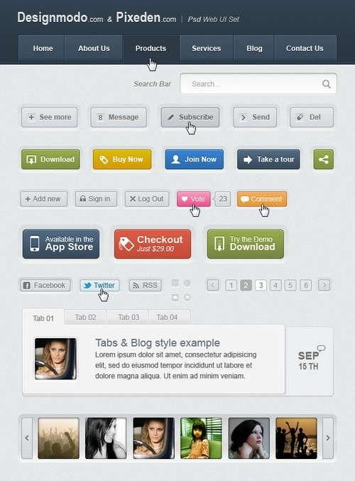 free psdhtml web ui elements kit