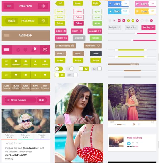free flat html5 css3 ui kit