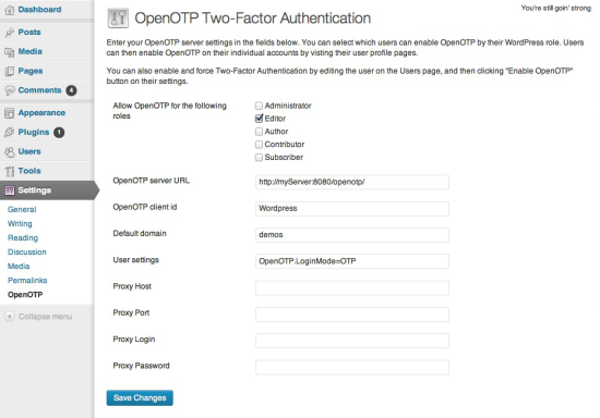 openotp two-factor authentication