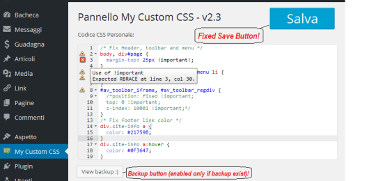 my custom css wordpress plugin