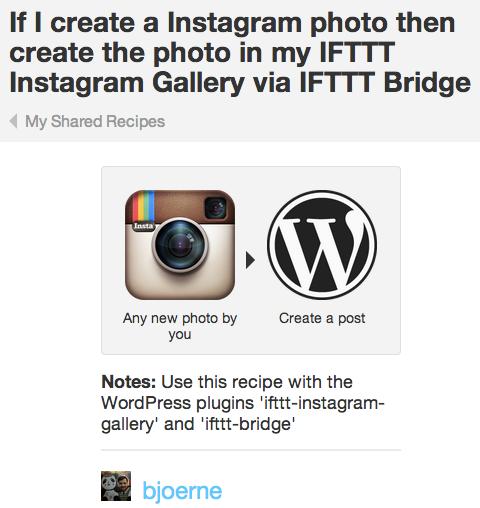 ifttt instagram gallery