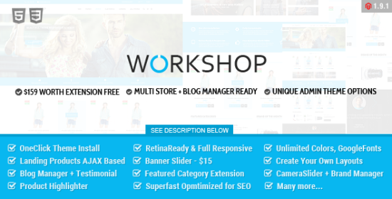 workshop responsive retina ready magento theme
