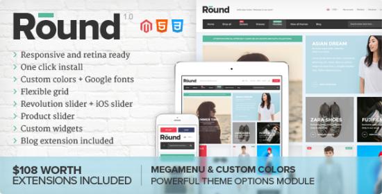 round responsive magento theme
