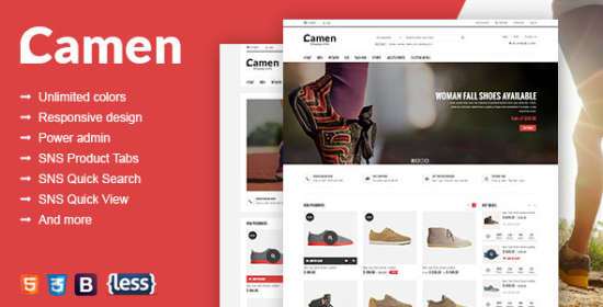 sns camen premium responsive magento theme