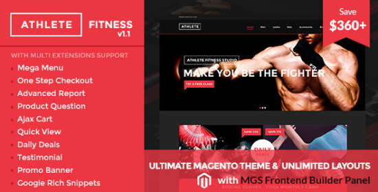 athlete fitness multipurpose magento theme