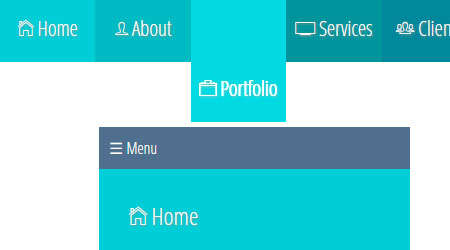 full circumference responsive tiled menu