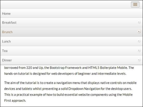 responsive, mobile very first navigation menu