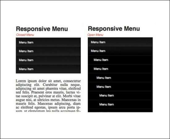 responsive fall down navigation menu