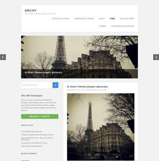 archy free travel wordpress theme