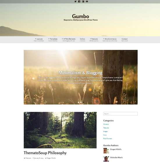 gumbo free travel wordpress theme
