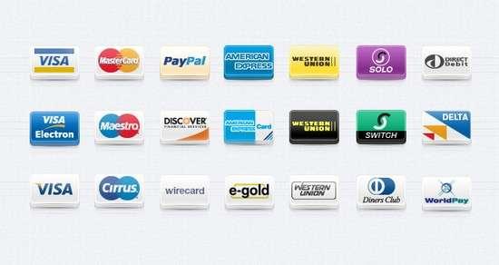 payment technique icons set vol 1