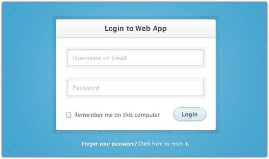 login to web app form