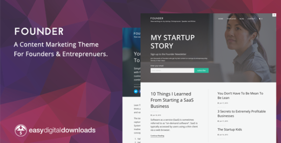 founder a content marketing wordpress theme