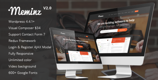 meminz download software website landing page theme