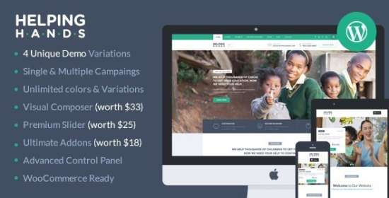 helpinghands charityfundraising wordpress theme