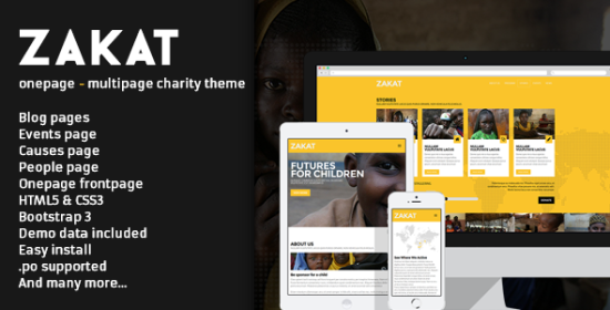 zakat onepagemultipage wordpress charity theme