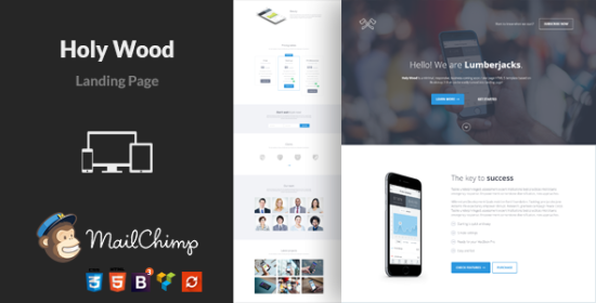 holy wood multipurpose wordpress landing page