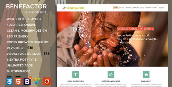benefactor nonprofit multipurpose wordpress theme