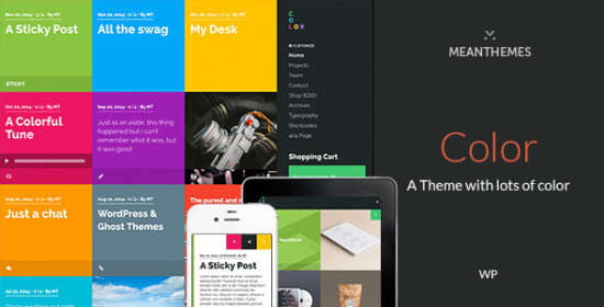 color a blog portfolio theme with plenty of color