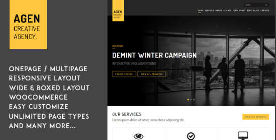 agen one web page multi page responsive wp theme