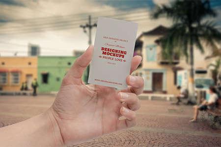 business card hand mockup