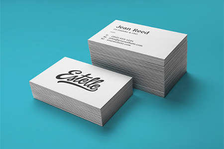 stack letterpress business cards mocku