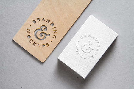 cutout wood embossed bcard mockup