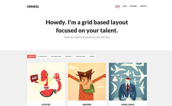 mimesi portfolio theme website