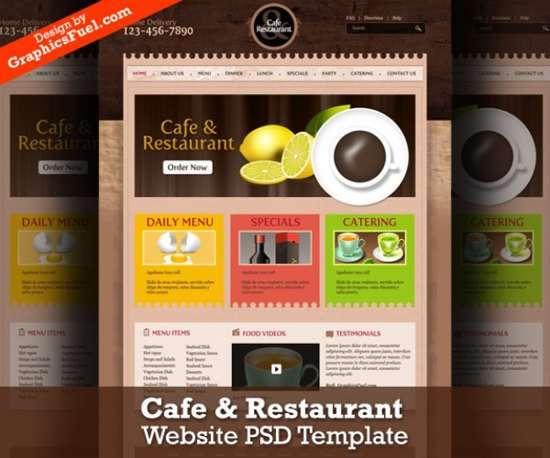 cafe restaurant website psd template