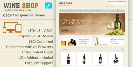 wine shop cs cart responsive theme