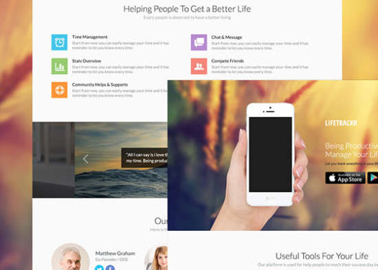 psd landing page for apps