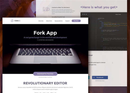'forkio one page website template