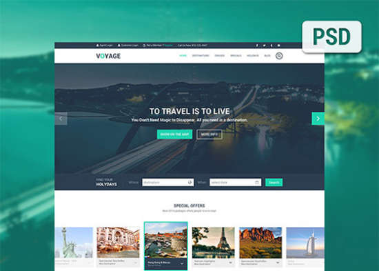 voyage free travel psd template