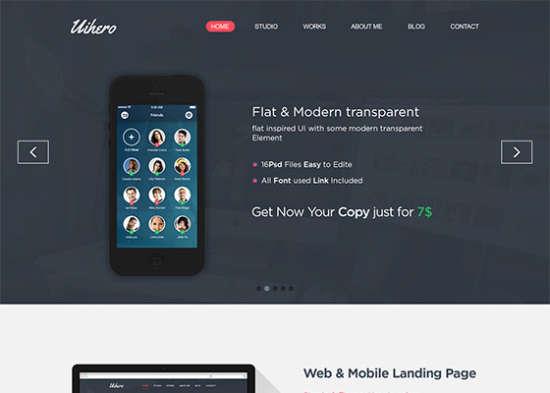 uihero free one page website