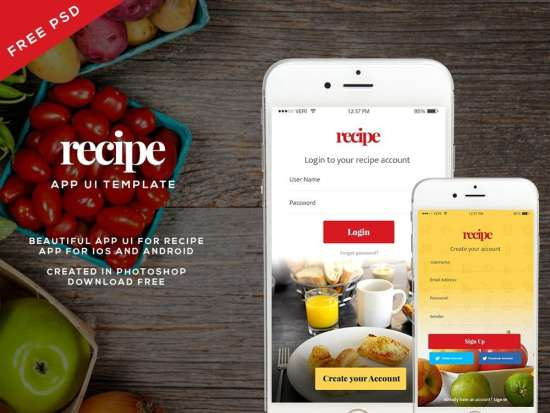 free_recipe_app_ui_template_psd