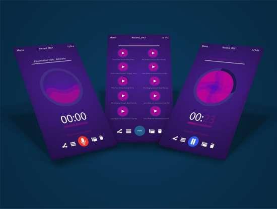voice_recorder_app_ui_psd_screens