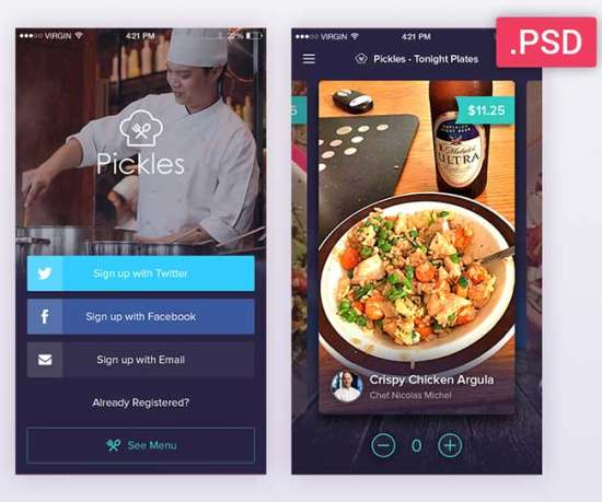 pickles_restaurant_psd_app_ui_kit