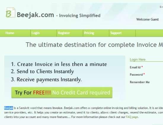 Beejak online invoicing