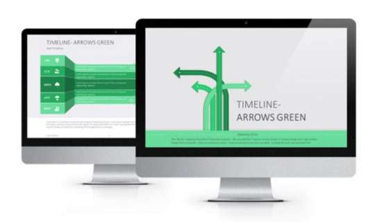 Timeline Arrows Green Flat