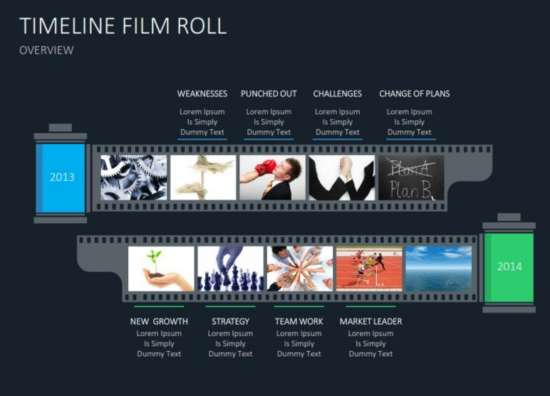 Timeline Film Roll Slides Flat