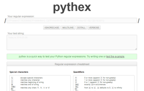 Pythex real-time python regex