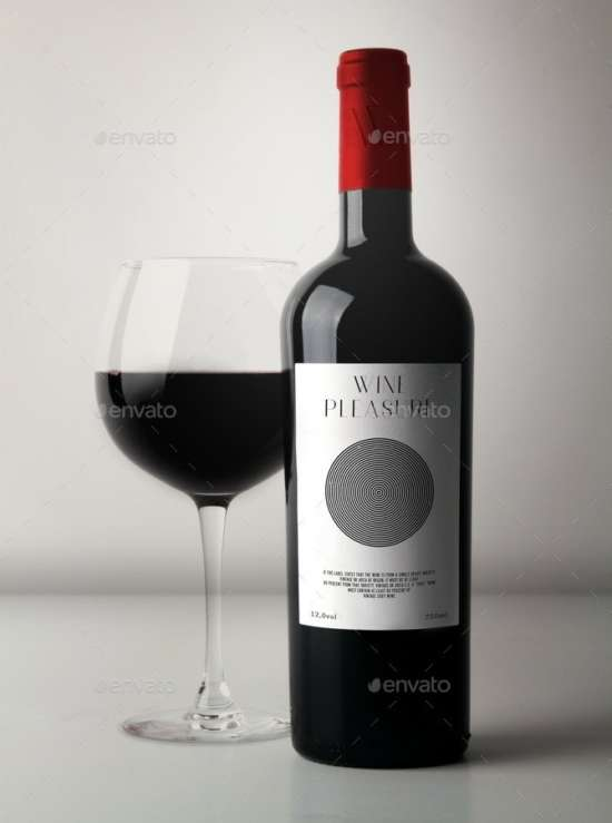 5 wine bottle mockup psd templates