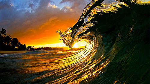 Sunset With Sea Wave Tap To See More Breathtaking Beach: 50 Amazing Sunset Wallpapers