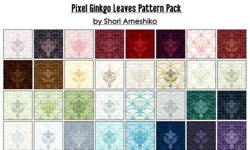 pixel_ginkgo_leaves_pattern_pack