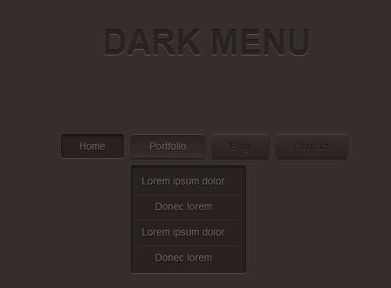 dark_menu_pure_css3_two_level_menu