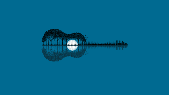 General 1920x1080 guitar minimalism reflection simple background trees building Moon